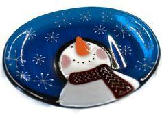 Snowman Soap Dish Fused Glass Spoon Rest by PurpleSlugGlassArt