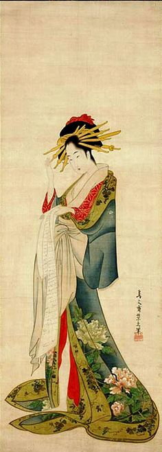 Bela lendo uma carta, Chobunsai Eishi ( Japão, 1756-1829), Pintura em rolo para pendurar:  Tinta, cor, folhas de prata e ouro, sobre s...