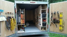 """#1 of 8 BEST PLANNED WORK TRAILER. I started with most used tools at the door and less used inside. 8' ceiling height is a must. We build large pieces in my cabinet shop and a 14' trailer with a v-nose gives me 17'-6"""" rear to nose for 16 ' moldings. Contractor organize organization trailer enclosed. Check out how I organized the rest of the trailer- Jeff, James River Carpentry"""