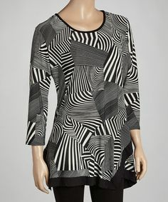 Take a look at this Black & White Abstract Handkerchief Tunic by Come N See on #zulily today! $22 !!