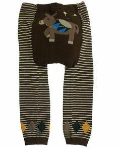 """Dotty Fish - Jambières en laine """"âne"""" pour bébés et jeunes enfants Brun de Busha."""