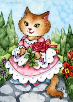 Beauty's Rose, Art Animals - Anthropomorphic, given human attributes, Cat, Cats, Kitty, Kitties, Kittens