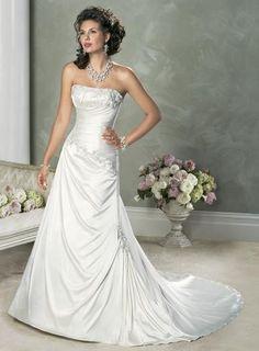 Strapless Beaded Embellished Lace Satin Simple Wedding Dresses Wedding  Dress Styles 9e6d5d4c249b