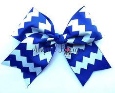 BLUE WITH WHITE CHEVRON GLITTER CHEER BOW