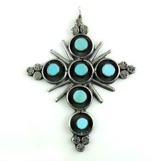 Vintage Southwestern Native American Sterling Silver Turquoise Cross Hand Made Large. Check out more antique and vintage jewelry at Regalities.com