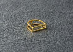 Geometrische goud Vermeil Ring