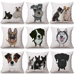 aacab985149f5 Throw Pillow Covers in various dog breed designs. Choose your favorite.  Gift idea.