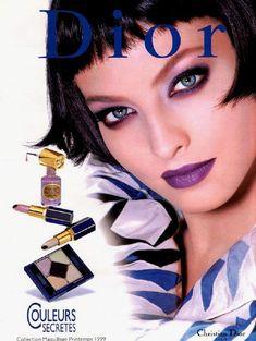 Dior ad purple lipstick smokey eye grunge makeup - Dior Makeup - Ideas of Dior Makeup - Dior ad purple lipstick smokey eye grunge makeup Vintage Makeup Ads, Retro Makeup, Old Makeup, Makeup Geek, Makeup Ideas, Vintage Beauty, Dior Lipstick, Purple Lipstick, Pink Lips