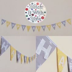 HAPPY BIRTHDAY bunting in this grey star and yellow spot combo (don't know about you but i LOVE these fabrics together) If you'd like something similar I can make it in any fabric combo you like. Prices start from 23.75 (1 per plain flag either side) price includes the space in the middle contact me today!  Holly X by stitchitwithstyle