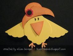 """Punch art chick. Try this bird for a get well card and put """"Chirp Up"""" as the saying * You could make this a Red Hat bird too @Paula Arbolino"""