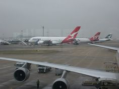 Qantas A380 and other aircraft at Heathrow Airport, terminal 4, Jan 23rd 2010