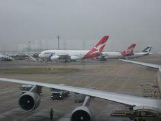 Qantas A380 and other aircraft at Heathrow Airport, terminal 4, Jan 23rd 2010