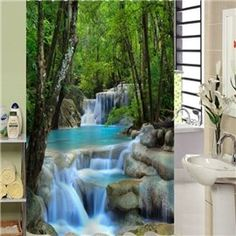 Charming 3D Vivid Waterfall Pattern Shower Curtain
