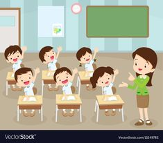 teacher standing teaching in front children raising hands up sitting in classroom flat vector illustration. Word Games For Kids, Art For Kids, Teacher Teaching Students, Beautiful Teacher, Teacher Cartoon, Powerpoint Background Design, Shapes For Kids, Kids Background, School Frame