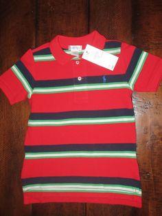 1a391e8111b NWT Ralph Lauren Infant Baby Boy Mesh Polo Shirt SS Striped 24 Months New   PoloRalphLauren