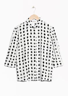 Painterly print shirt, black & white pattern fashion // & Other Stories