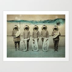 """The Diving Bell Tuba Quintet"" art print by Vin Zzep"