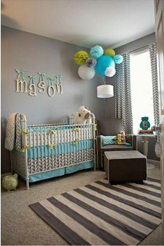 Grey, lime green, white, and turquoise blue room