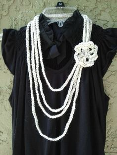 Crochet fashion rope necklace scarf with flower  $7.00