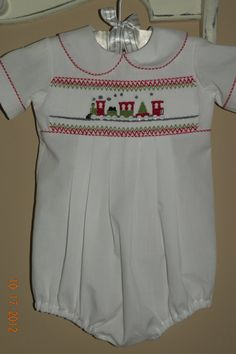 Baby Boy Hand Smocked Christmas Bubble Suit                                              Christmas in July