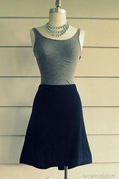 DIY Fashion | No Sew, T-Shirt to Skirt (WobiSobi)