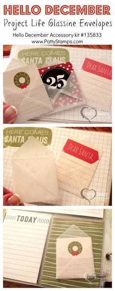 Glassine envelopes from the Hello December Project Life by Stampin' Up! accessory pack. #stampinup #PLxSU #projectlife