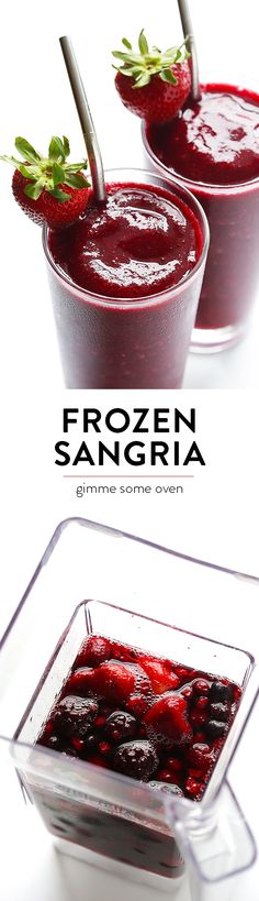 Frozen Sangria - ready to go in about 2 minutes, and SO tasty. - Frozen Sangria – ready to go in about 2 minutes, and SO tasty. Frozen Sangria, Frozen Drinks, Refreshing Drinks, Yummy Drinks, Yummy Food, Fruit Drinks, Healthy Food, Healthy Eating, Party Drinks