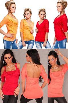 Träger Top Shirt mit Strasskette,Longshirt,Longtop,Tunika,Bluse Langarm34-38