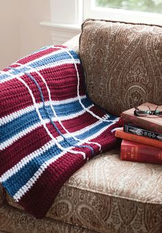 Plaid Crochet Blanket | free pattern from crochet today