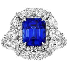 Rich Blue Unheated Ceylon Sapphire Ring | From a unique collection of vintage engagement rings at https://www.1stdibs.com/jewelry/rings/engagement-rings/