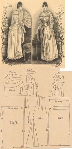 Der Bazar 1889: Salmon colored crépe de chine evening dress with white lace adornment; 1. bodice's front lining part, 2. upper front plastron in half size, 3. overdress' front part in half size, 4. overdress' side gore, 5. and 6. bodice's side gores, 7. upper back plastron, 8. skirt's back part, 9. collar in half size, 10. sleeve's upper pouffy part, 11. sleeve in half size