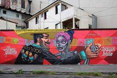 Arte urbano en el DF pared de un hombre bailando con una catrina.  por Apitatan