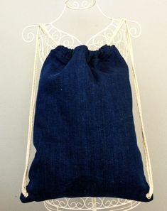 Denim Drawstring Backpack for women - denim rucksack - laptop bag drawstring backpack - sling bag - women backpacks