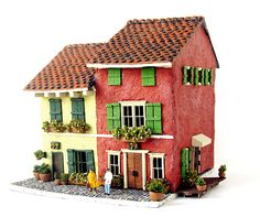 Red and Yellow Murano Island Houses - Custom Order - HO Scale Buildings