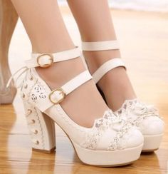 Womens Ankle Strap Bowknot Mary Janes Lace Up Platform Sweet High Heel Shoes