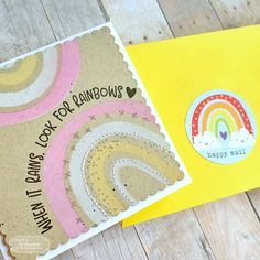 Somewhere Over the Rainbow Kit from Taylored Expressions – fastest turtle… Card Making Kits, Card Making Tutorials, Rainbow Card, Candy Cards, Folded Cards, 3d Cards, Shaker Cards, Heartfelt Creations, Happy Mail