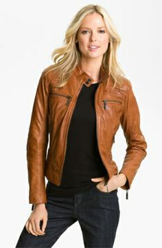 #Fall #Fashion #2013 Bernardo Quilted Trim Leather Scuba Jacket by nordstrom. It could be paired with a lot!