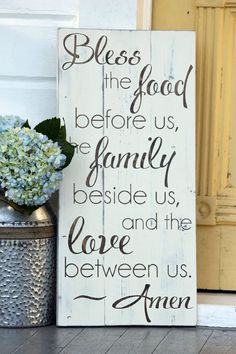 """Bless the food before us, Large hand painted wood sign, Kitchen & dining room decor, Housewarming gift, wedding gift, Measures 10.5"""" x  22"""""""