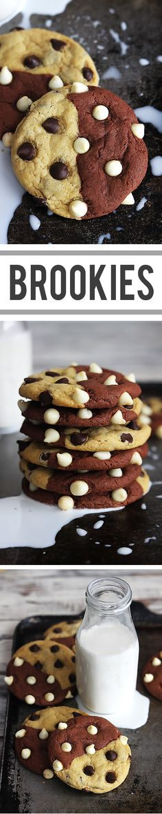 Combining brownies and chocolate chip cookies gives you soft and chewy BROOKIES! aka: True Love Cookies Of course I had to pin this! Cookie Desserts, Just Desserts, Cookie Recipes, Delicious Desserts, Dessert Recipes, Yummy Food, Cupcake Recipes, Yummy Cookies, Yummy Treats