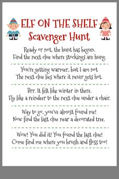 Fun elf on the shelf idea your kids will love. A free printable scavenger hunt for elf on a shelf. Fun elf on the shelf idea your kids will love. A free printable scavenger hunt for elf on a shelf. Merry Christmas, Christmas Elf, Christmas Trimmings, Christmas Birthday, 21st Birthday, Christmas Ideas, Christmas Crafts, Christmas Activities, Christmas Traditions
