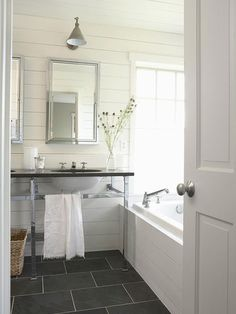 Love the horizontal panels (and framing on bath).  Not sure about slate floors but could look nice on countertop