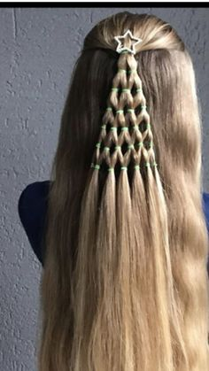 Christmas hair style...Riley's hair is long enough for this & it would be cute for school