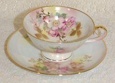 Antique Vintage Schumann Arzberg Germany China Wild Rose Blush Tea Cup & Saucer Set