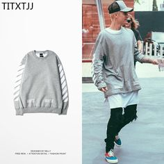 2017 Hip Hop Off White Fleece Hoodies Sweetwear Justin Bieber Virgil Abloh Gray Stripe Cotton Round Neck Sweatshirts Men Women