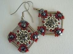 Seed Bead Earring Tutorial - Cross Medallion Earrings. $4.00, via Etsy.