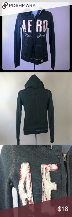 """Aeropostale New York Gray Hoodie Size Small Aeropostale New York Full Zip Gray Hoodie with plaid detail in the wording, Size Small. Chest 15"""", Length 22"""", sleeves 21"""". Thanks for shopping my closet! Aeropostale Tops Sweatshirts & Hoodies"""