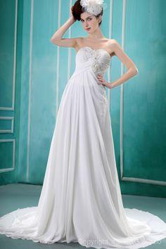 Floor-length Train Ruched/Appliques/Flowers Zipper Strapless Chiffon A-line Natural White Sleeveless Elegant Chapel Wedding Dress