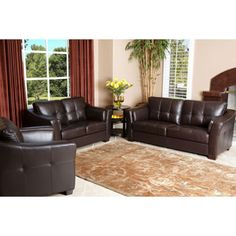 Abbyson Living Richfield Premium Top Grain Leather Sofa Loveseat And Armchair Set Overstock