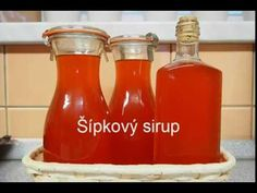 Šípkový sirup - YouTube Hot Sauce Bottles, Food And Drink, Drinks, Cooking, Health, Youtube, Syrup, Drinking, Kitchen