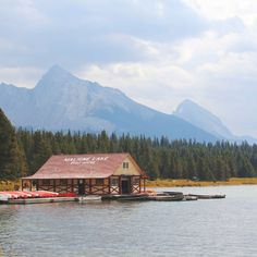 The Boat House by CarrieColePhotography canada landscape lake water nature outdoor canoe rockies scenic north america rocky mountains jasper Banff National Park Canada, Jasper National Park, Patagonia, Canada Landscape, Lake Mountain, Visit Canada, Family Road Trips, Ocean Photography, Canadian Rockies